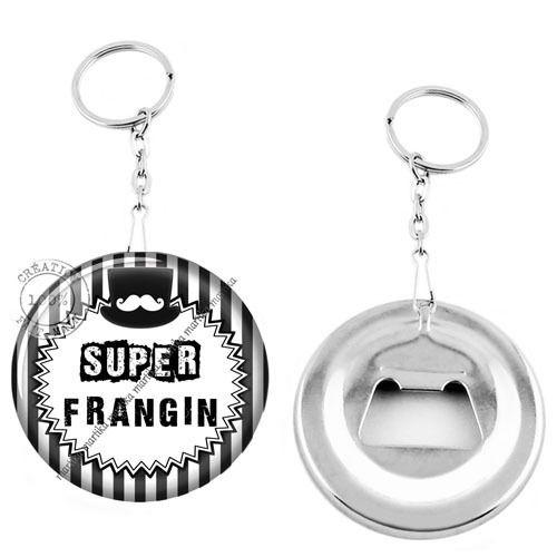 Porte clé décapsuleur / super frangin fond rayure blanche : Porte clés par bijoux-martika-creation