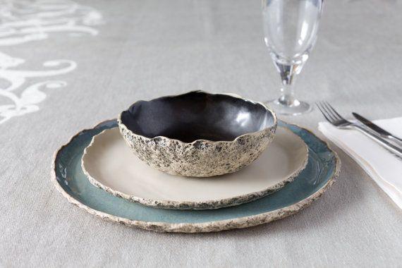 Handmade Ceramic dinner settings, Stoneware dinner setting, Ceramic dinner set, Rustic Kitchen dinner settings, Large Ceramic dinner set, Blue Dinner plates, Wedding gift, Birthday gift, Housewarming gift  ♥ ♥ ¸.•*¨)¸.•´¸.•*´¨) ¸.•*¨)¸.•´¸.•*´¨) ¸.•*¨)¸.•´¸.•*´¨) ¸.•*¨)¸.•´¸.•*´¨) ¸.•*¨)