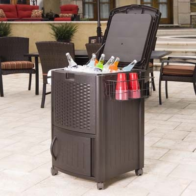 Suncast Resin Deck Cooler with Wicker Front and Cabinet - DCCW3000