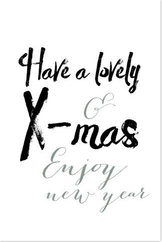 Witte kerstkaart met teksten in een hip brush lettertype. Gratis verzending in Nederland en België.