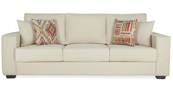 Oritz Three Seater Sofa with Throw Cushions in Pale Taupe Colour by CasaCraft