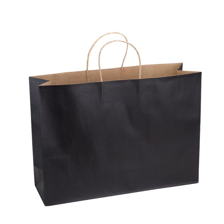Paper Bag Extra Large Wide 420w x 130d x 310h Black pack 100 - Surestyle Limited