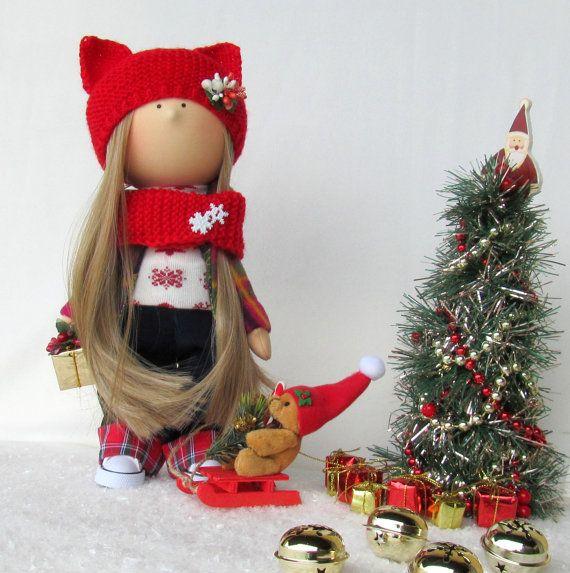 Alice Christmas Cloth Doll-Handmade от NICEDOLLSANDRABBITS на Etsy