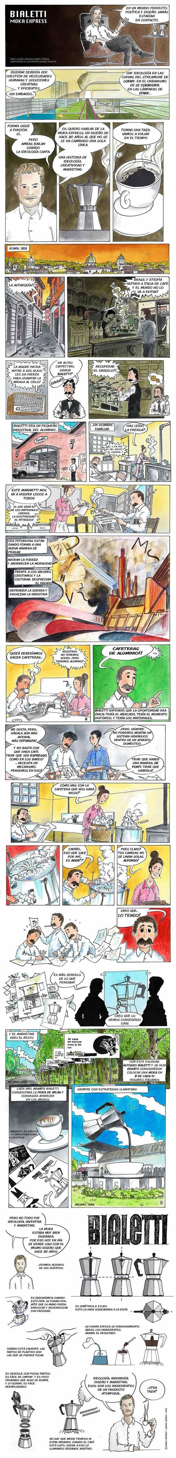 ¿Conoces la historia de la cafetera italiana? Este cómic te la cuenta
