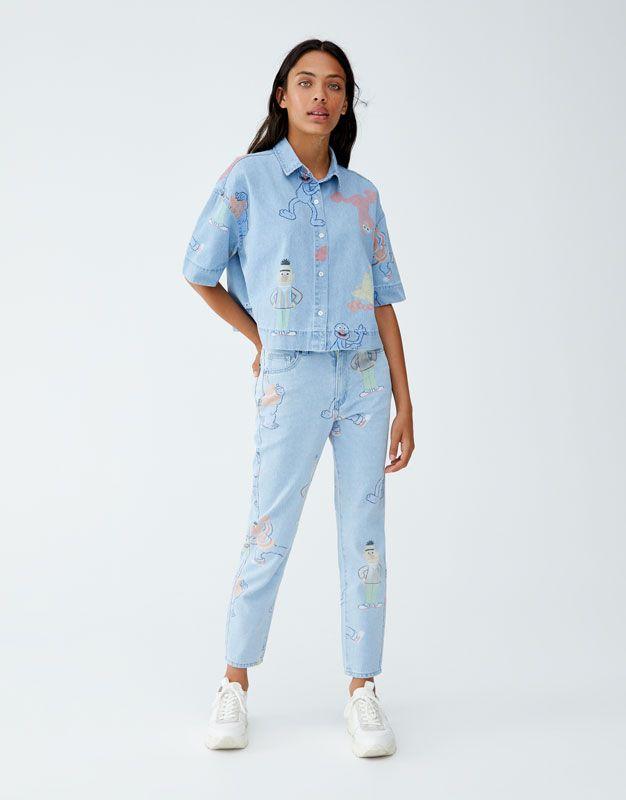 54381f728e0 Sesame Street mom jeans - pull bear