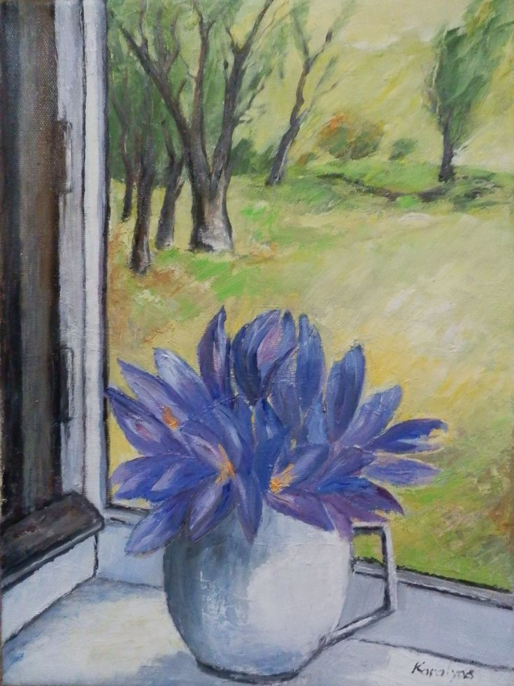 Spring flowers in the window
