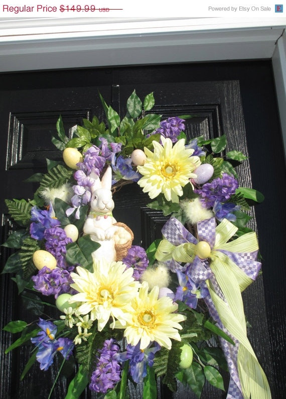 SALEALL ITEMS 2/283/28 Easter Wreath Spring by hollyhillwreaths, $119.99