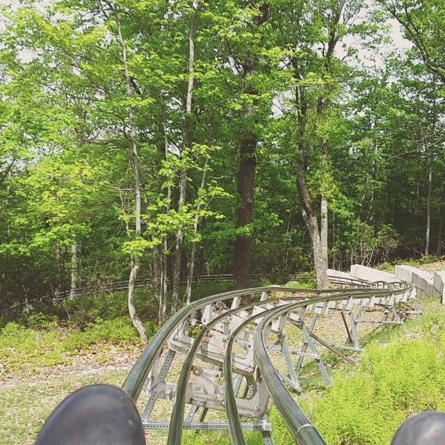 Race down a Mountain Coaster ride in the Poconos at Camelback Mountain Resort! #PoconoMtns
