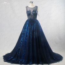 RSE186 de Bling Vestidos De Noiva Sem Mangas Decote Barco Padrão Beading Illusion Voltar Vestidos de Noiva Azul Royal alishoppbrasil