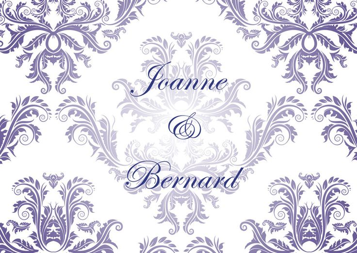 Classic Damask wedding theme can be printed in any colour.