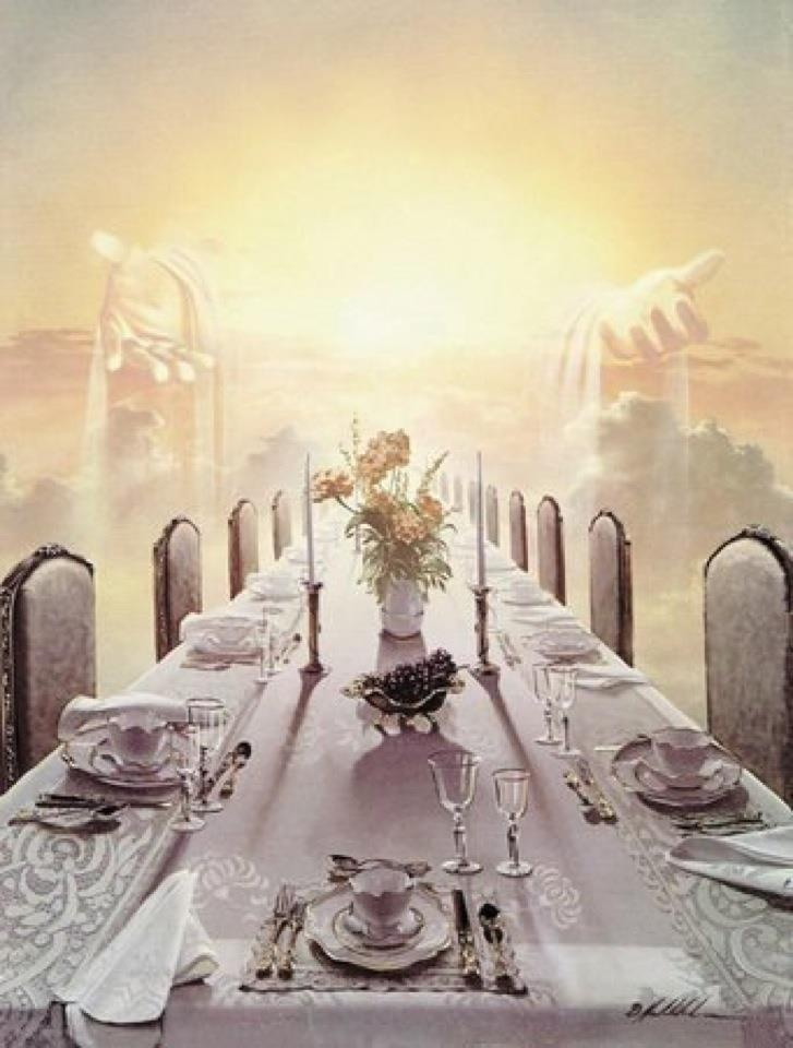 Banqueting Table in Heaven.    THE INVITATION You are invited to come dine with me from now through all eternity. Believe in the father son and holy spirit, and dine with Jesus as your host. To live in heaven eternally, All you must do is.... accept Jesus Christ as Lord! Ask Him to come into your heart and save you from your sin! Repent of your sin and follow Christ! You must be born again In Him in order to enter the kingdom of God. Romans 10:9-15: