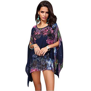 vrouwen+bloemen+blauwe+blouse,+losse+ronde+hals+korte+vleermuis+mouw+asymmetrische+zoom+–+EUR+€+9.79