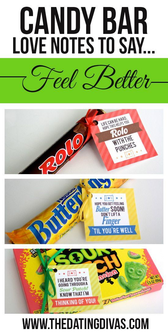 Printable candy bar gift tags! Such a cute and easy gift idea to cheer up a loved one or friend. www.TheDatingDivas.com