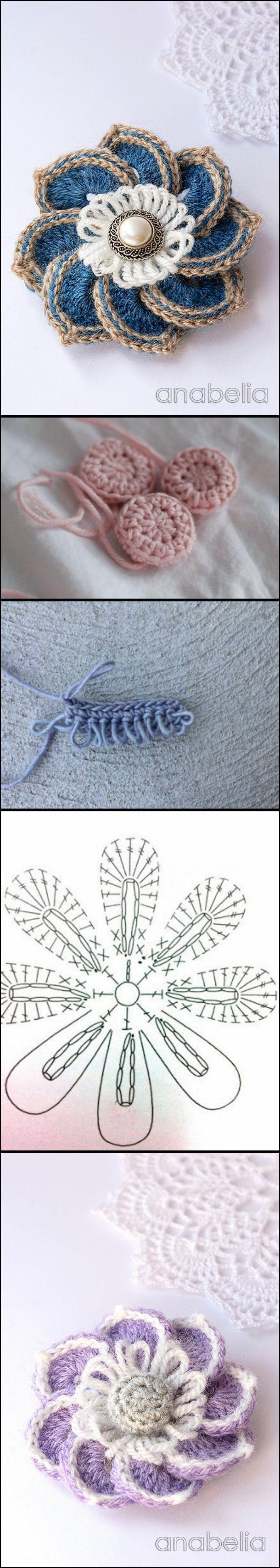 Crochet Brooches, Chart and Tutorials