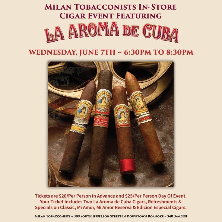 LA AROMA DE CUBA CIGAR EVENT is June 7th! ~ Please join us on Wednesday, June 7th, for an enjoyable evening celebrating the La Aroma de Cuba brand of premium cigars! Enjoy exclusive cigar specials (see available deals by clicking on image above), refreshments, two La Aroma de Cuba cigars, and the opportunity to win door prizes.