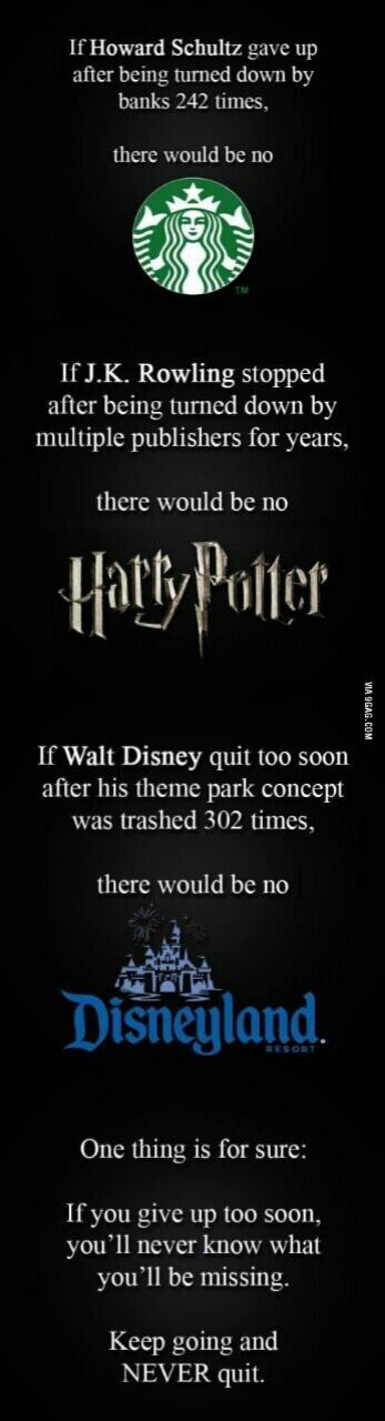 Keep Going and NEVER quit nor Give Up! Great facts/examples from Starbucks, Harry Potter, & Disneyland