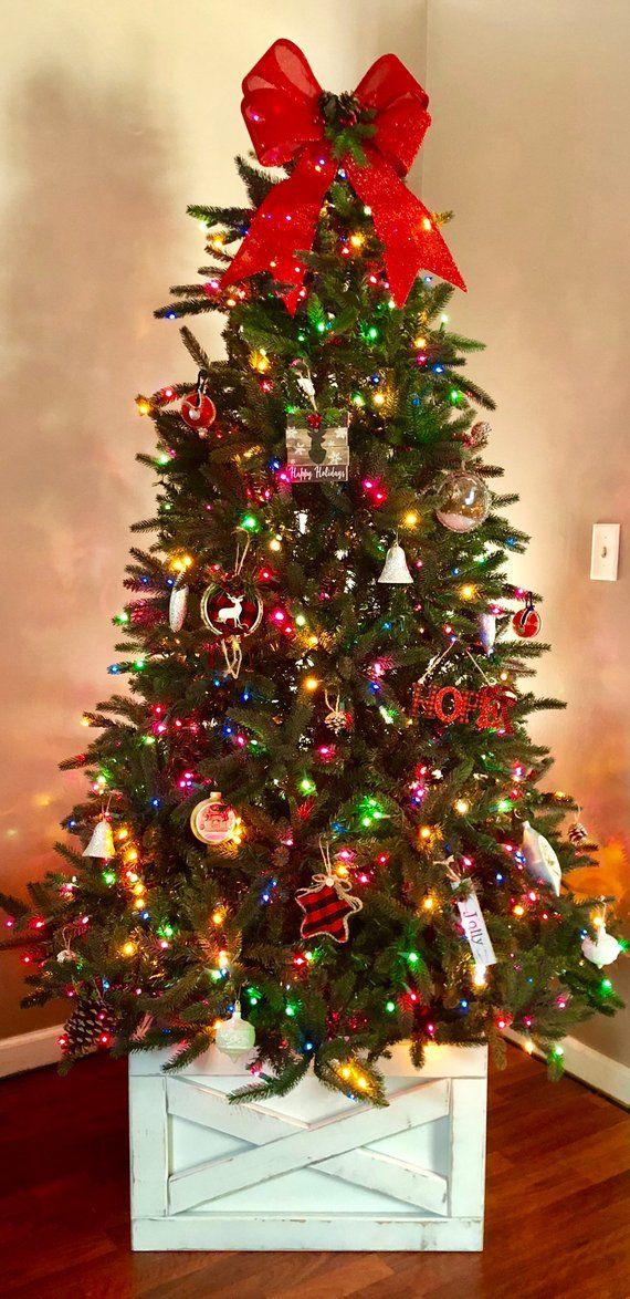 Farmhouse Christmas Tree Box Skirt Etsy Christmas Tree Decorating Themes Christmas Tree Box Farmhouse Christmas Tree
