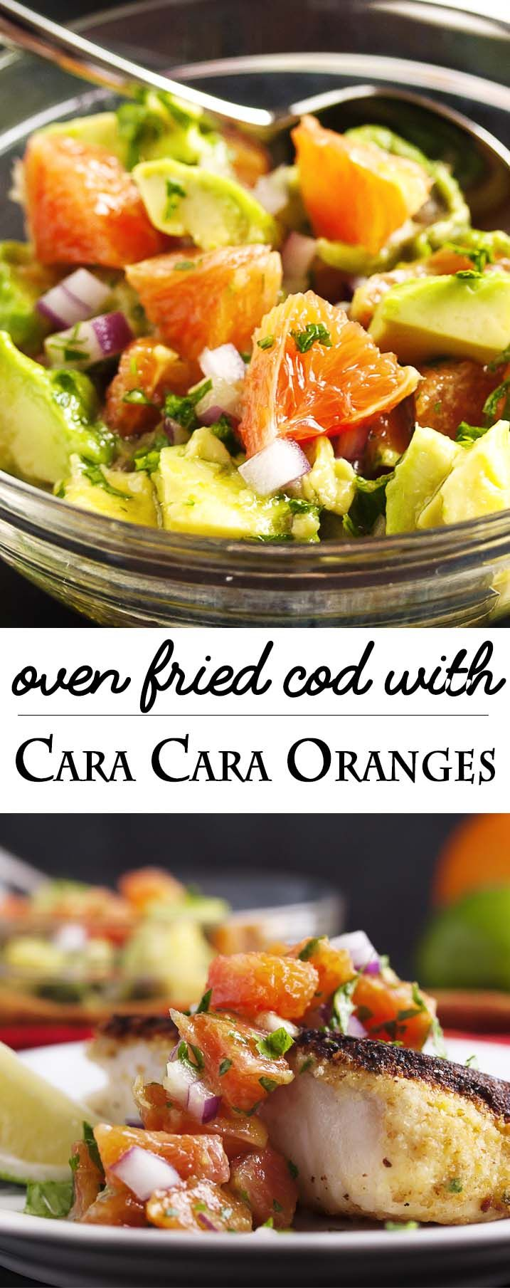 Oven Fried Cod with Cara Cara Oranges - Thick-cut cod is breaded on one side, browned on the stove top and finished in the oven before being topped with a Cara Cara orange and avocado salsa. Yum! | justalittlebitofbacon.com