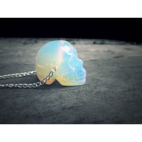 Crystal Skull Necklace Holographic Opalite Skull Opal Quartz Necklace... ($20) ❤ liked on Polyvore featuring jewelry, necklaces, bohemian jewelry, quartz crystal necklace, goth necklace, boho necklace and crystal stone necklace