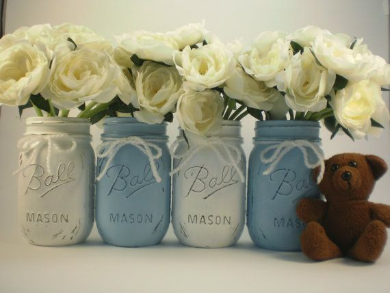 Baby Shower Centerpiece Mason Jar By Lilpumpkincrafts 20 00 Boy Pinterest Centerpieces And