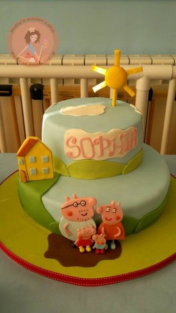 What a fun cake at a Peppa Pig Birthday Party!  See more party ideas at CatchMyParty.com!  #partyideas #pig