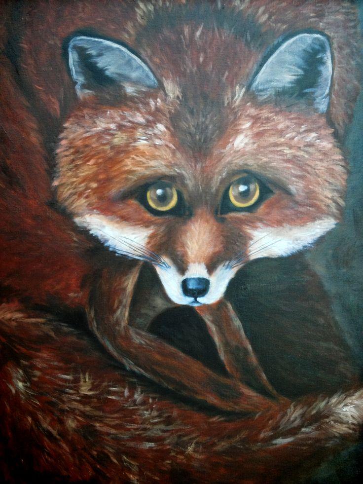 Red fox. Oil on canvas. Maryrosenakamurafineart@gmail.com