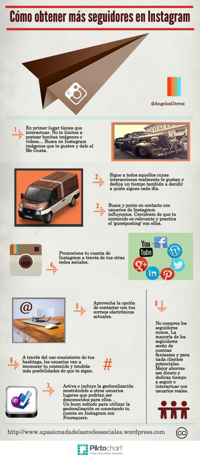 #Infografía Cómo conseguir más seguidores en #Instagram #SocialMedia