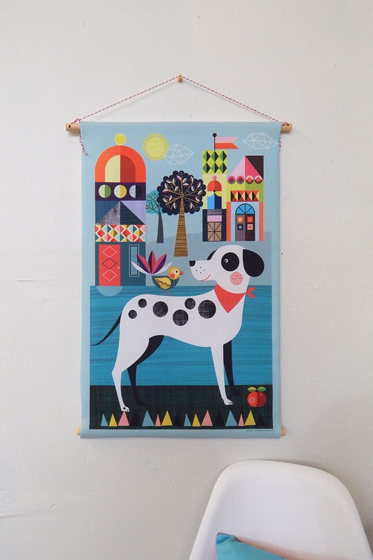 Pablo the spotty dog, fabric, wall hanging, Ellen Giggenbach by EllenGiggenbach on Etsy
