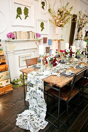 old photographs as a runner - would be fun for a party!: Photos, Craft, Wedding Ideas, Diy, Table Runners, Party Ideas