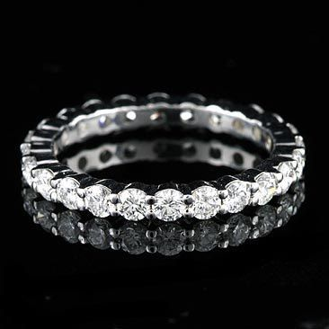 15ct Diamond Wedding Ring Classic Shared Prong Eternity Natural Band Conflict Free 14K Gold 26mm
