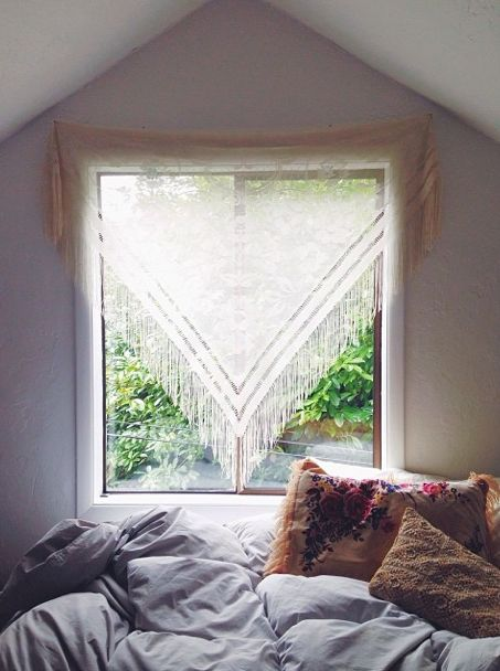 beautiful window treatment - vintage scarf
