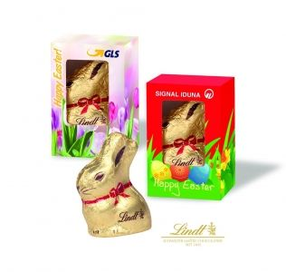 Promotional Lindt gold Easter bunny presented in a printed gift box