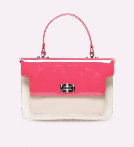 geanta din piele roz cu alb - genti dama