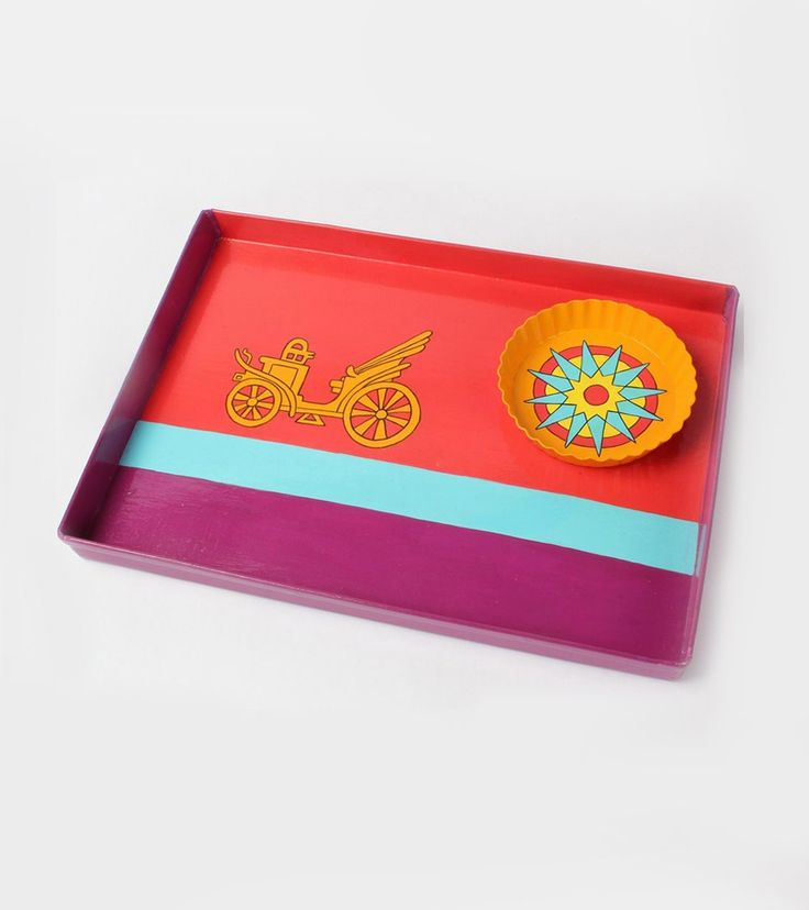 Multicoloured Hand Painted Aluminum Tray With Snacks Plate : Museum Ki Sawari #indianroots #homedecor #tray #snackplate #handpainted