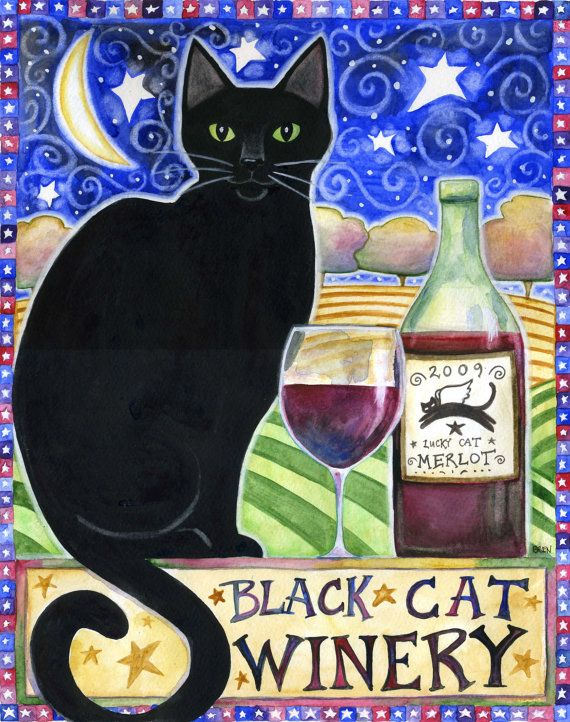 Black Cat Winery   8x10 Black Cat Moon Star by BlueLucyStudios,