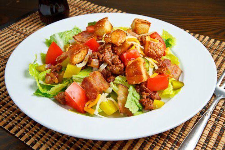 Bacon Double Cheese Burger Salad | Salads | Pinterest