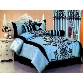 Tiffany blue and black bedding. it's really effin cute