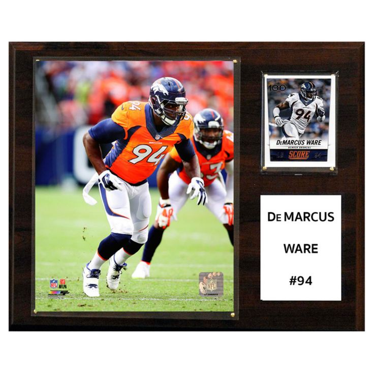 C and I Collectables NFL 15W x 12H in. Demarcus Ware Denver Broncos Player Plaque - 1215DWAREDEN
