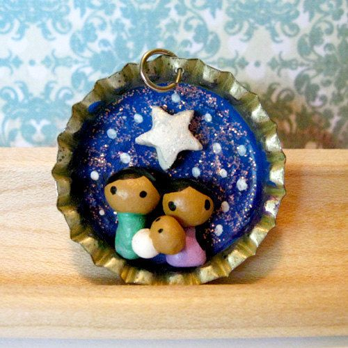 Tiny Nativity Bottle Cap Charm Choose Necklace by PigAndPumpkin, $22.00