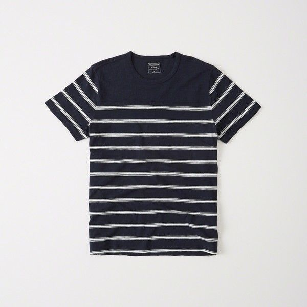 Abercrombie & Fitch Striped Crew Tee ($12) ❤ liked on Polyvore featuring men's fashion, men's clothing, men's shirts, men's t-shirts, navy stripe, mens cotton t shirts, j crew mens shirts, mens crew neck t shirts, mens striped t shirt and abercrombie & fitch men's t shirts