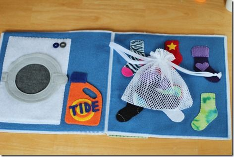 Sock matching quiet book page with adorable tiny socks & washing machine.
