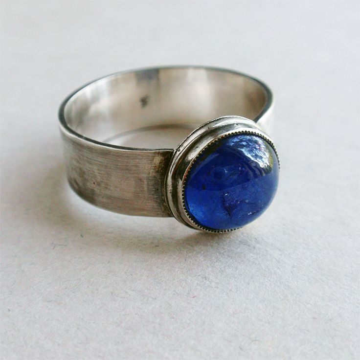 Sterling silver ring with natural sapphire #sapphire ring