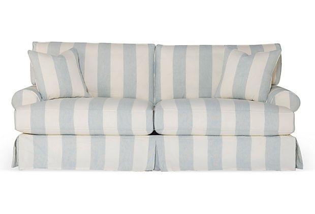 Best Comfy Slipcovered Sofa Blue White Stripe Slipcovers 640 x 480