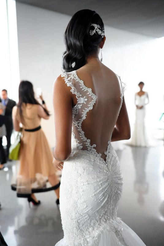 Love the sheer illusion on this open-back mermaid gown from the Galia Lahav spring 2015 bridal collection.