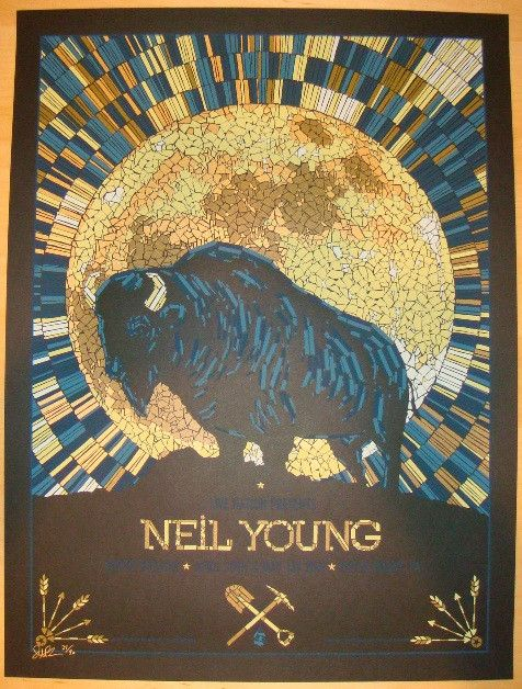 Neil Young - variant silkscreen concert poster (click image for more detail) Artist: Todd Slater Venue: Tower Theatre Location: Upper Darby, PA Concert Date: 4/30/2011 & 5/1/2011 Edition: signed and n                                                                                                                                                                                 More