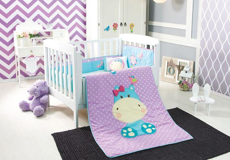 Purple Hippo Crib Bedding