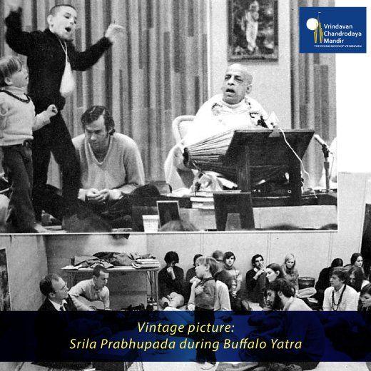 #SrilaPrabhupada and devotees at an immense kirtan at the University of Buffalo. #HareRamaHareKrishna