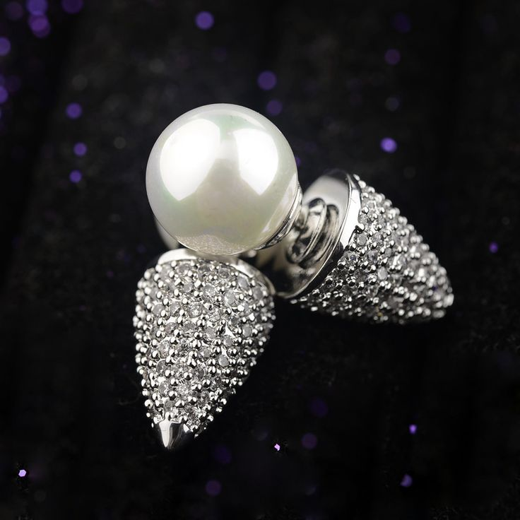 Unique Design pearl and bullet Stud Earring AAA cubic zirconia earrings Gold Filled Christmas Earrings for Women