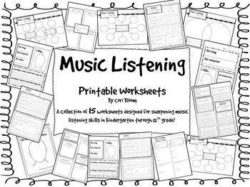 15 Printable music listening worksheets. Kindergarten through 12th grade