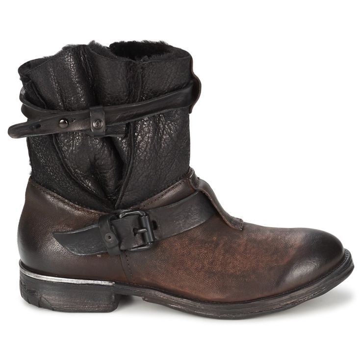 PROVAPERFETTO ITALIAN DESIGN DOUBLE BUCKLED BIKER BOOTS 1100-12 GREY BROWN  US$199.00